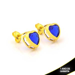Imagem de Brinco de Coração com Pedra Azul Escuro - 0212849