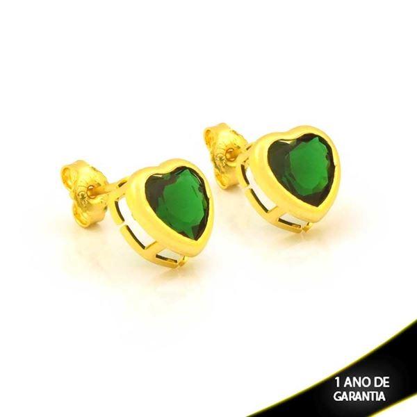 Imagem de Brinco de Coração com Pedra Verde - 0212849