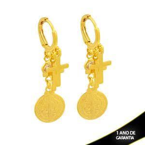 Imagem de Brinco de Argola com Cruzes e Zircônia com Medalha São Bento - 0212795