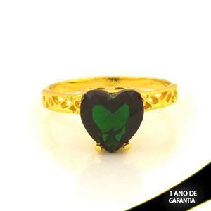 Imagem de Anel Trabalhado com Coração de Pedra Verde Escuro - 0105088