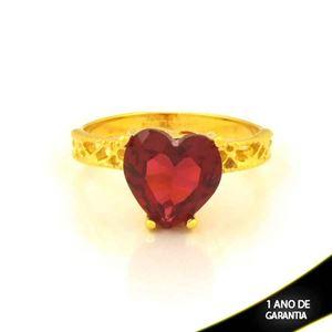 Imagem de Anel Trabalhado com Coração de Pedra Pink - 0105088
