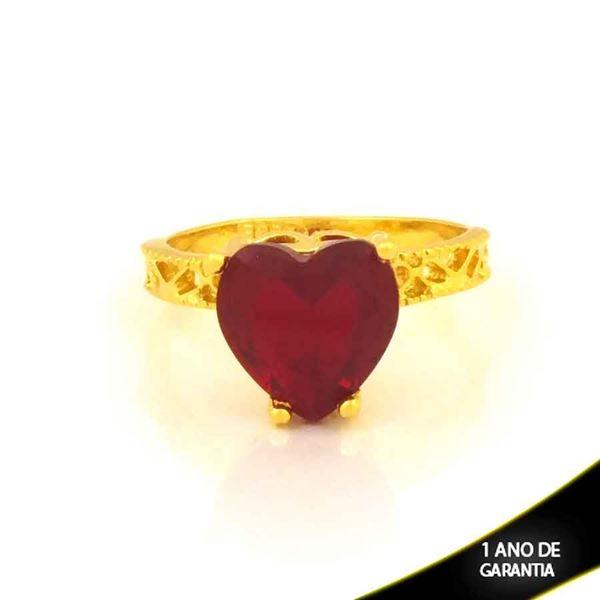Imagem de Anel Trabalhado com Coração de Pedra Vermelha - 0105088