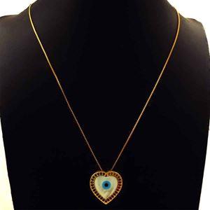 Imagem de Corrente Feminina Coração de Olho Grego com Zircônias Coloridas e Madre Pérola 45cm Mais 8cm de Extensor - 0404042