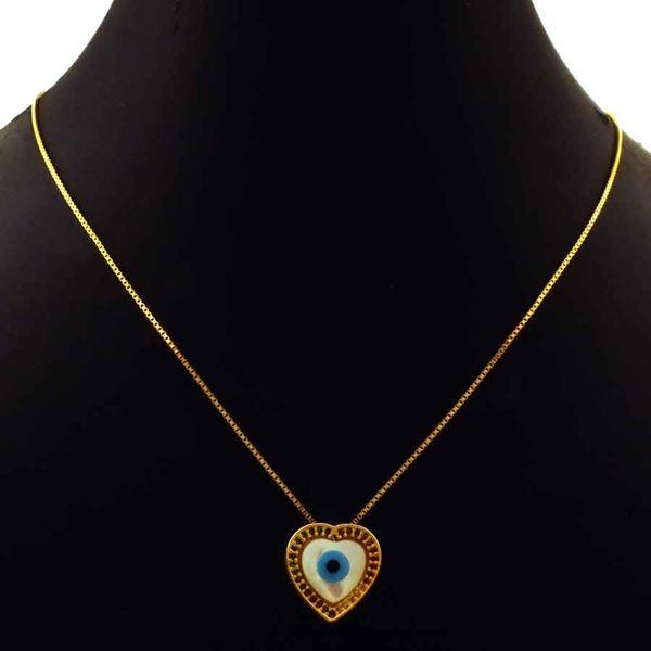Imagem de Corrente Feminina Coração com Olho Grego em Madre Pérola e Zircônias Coloridas 45cm Mais 8cm de Extensor - 0404044