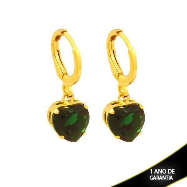 Imagem de Brinco de Argola Coração de Pedra Verde - 0212789