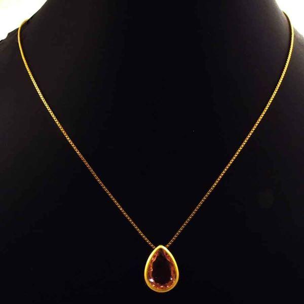 Imagem de Corrente Feminina Gota de Pedra Rosa 40cm Mais 5cm de Extensor - 0404053
