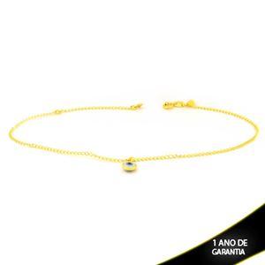 Imagem de Tornozeleira Lisa com Olho Grego Branco 24cm Mais 4cm de Extensor - 0600748