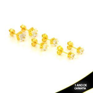 Imagem de Brinco Trio de Pedras de Zircônia Quadradas - 0212874