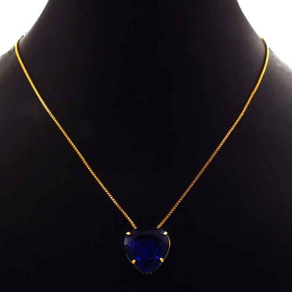 Imagem de Corrente Feminina de Coração de Pedra Azul Escuro 40cm Mais 5cm de Extensor - 0404052