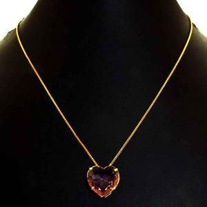 Imagem de Corrente Feminina de Coração de Pedra Rosa 40cm Mais 5cm de Extensor - 0404052