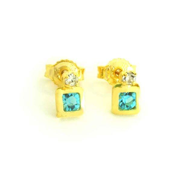 Imagem de Brinco Infantil Quadrado com Duas Zircônias Branco com Azul - 0212558