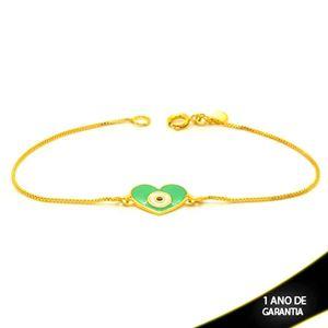 Imagem de Pulseira Feminina Coração Olho Grego Verde 18cm - 0504133