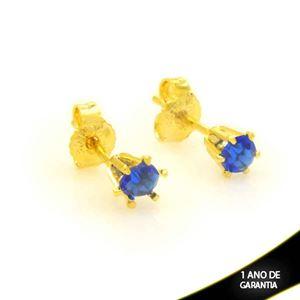 Imagem de Brinco Zircônia Seis Garrinhas Azul 4mm - 0212384