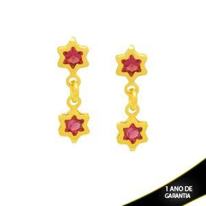 Imagem de Brinco Duas Estrelas de Zircônia Pink 1,7cm - 0212557