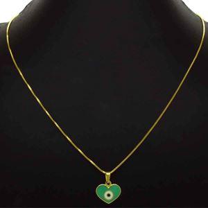 Imagem de Corrente Feminina Coração Olho Grego Verde 42cm Mais 5cm de Extensor - 0404018