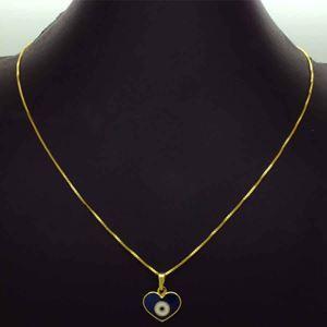 Imagem de Corrente Feminina Coração Olho Grego Azul 42cm Mais 5cm de Extensor - 0404018